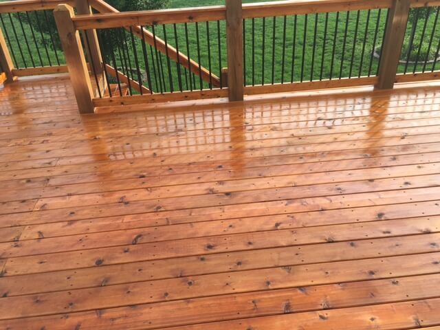 cedar deck stain project