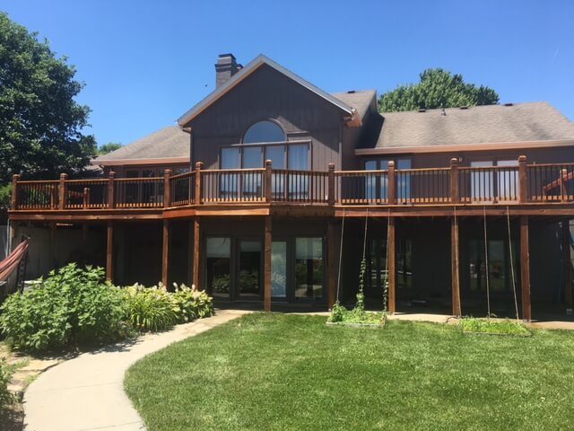 large deck stain project