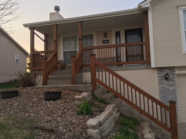 porch stain project in kc