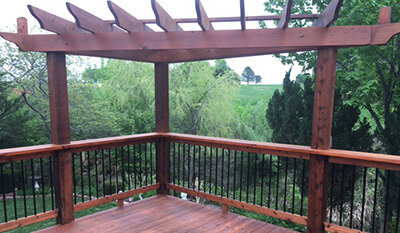 redwood pergola staining project in kansas city