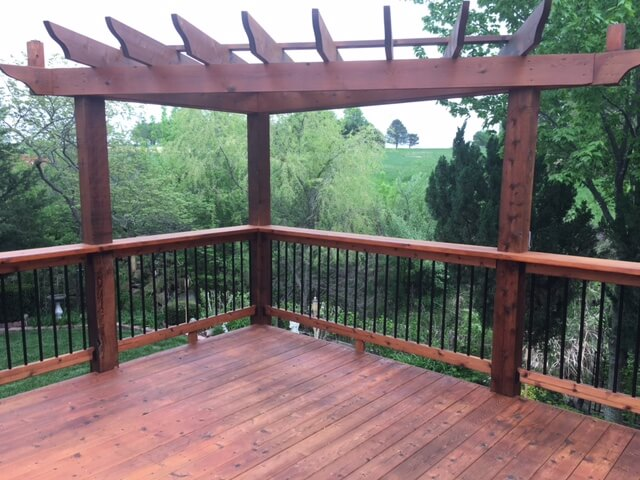 redwood pergola staining project